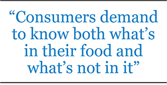 Consumers demand to know both what's in their food and what's not in it